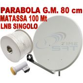Parabola G.M. 80 cm + Lnb Singolo + Matassa cavo 100 Mt.
